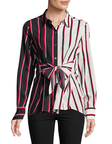 Tommy Hilfiger Tie-Front Tunic Shirt-MULTI-Small