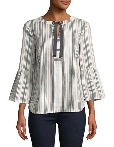 Tommy Hilfiger Tie-Front Bell-Sleeve Blouse-WHITE-Medium