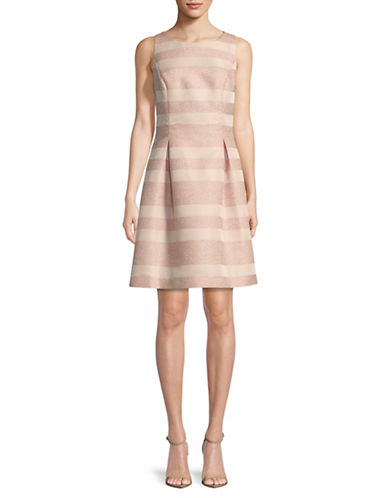 Tommy Hilfiger Eyelash Striped Fit-and-Flare Dress-POWDER-10