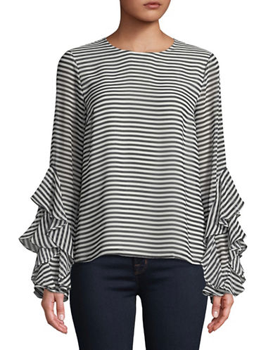 Tommy Hilfiger Ruffle Striped Blouse-NAVY-X-Small