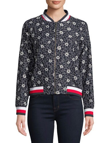 Tommy Hilfiger Zip-Up Lace Bomber Jacket-NAVY-Small