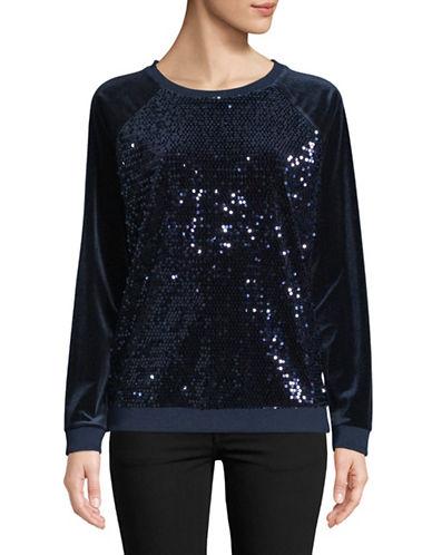 Tommy Hilfiger Velvet Sequin Pullover-NAVY-Small