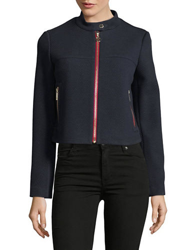 Tommy Hilfiger Zip Front Textured Jacket-NAVY-12