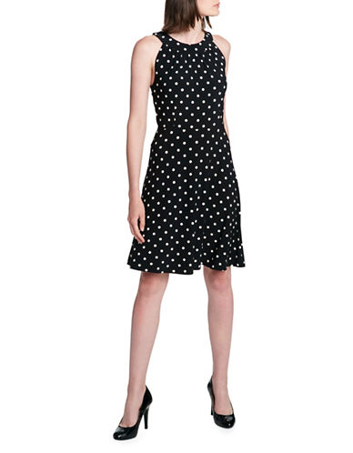Tommy Hilfiger Dotted Fit and Flare Halter Dress-BLACK-12