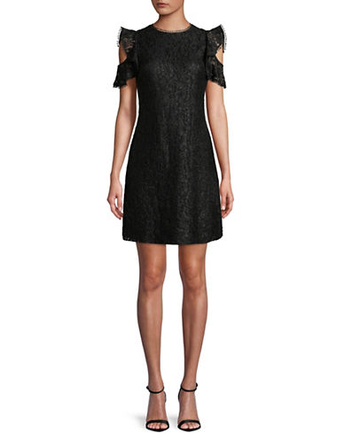 Tommy Hilfiger Lace Cold-Shoulder Dress-BLACK-8