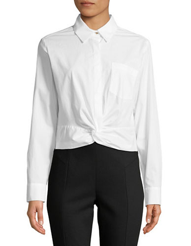 Tommy Hilfiger Tie-Front Crop Blouse-WHITE-Small