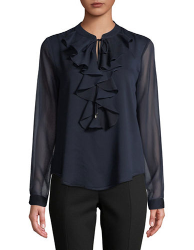 Tommy Hilfiger Long-Sleeve Midnight Ruffle Top-MIDNIGHT-Large