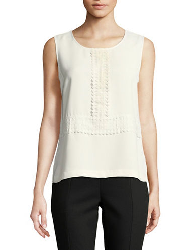 Tommy Hilfiger Sleeveless Braid-Trimmed Top-IVORY-Large