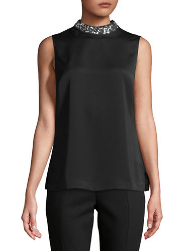 Tommy Hilfiger Embellished Woven Top-BLACK-X-Large