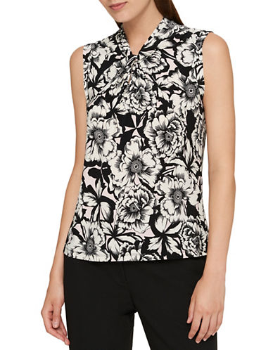 Tommy Hilfiger Floral Knot Neck Top-WHITE-Small
