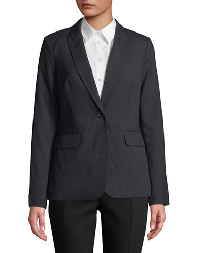 Tommy Hilfiger Pinstripe One-Button Blazer-NAVY-14