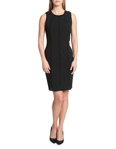 Tommy Hilfiger Scalloped Sleeveless Scuba Crepe Dress-BLACK-12
