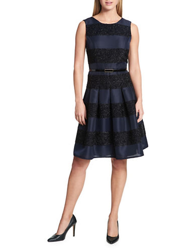 Tommy Hilfiger Striped Sleeveless Fit-And-Flare Dress-BLUE-14