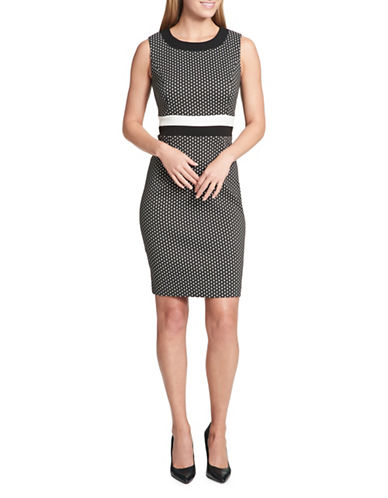 Tommy Hilfiger Shadow Cube Sheath Dress-BLACK-10
