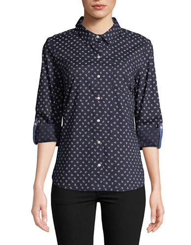 Tommy Hilfiger Anchor-Print Roll Tab Cotton Shirt-BLUE-Small