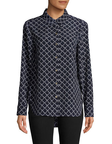 Tommy Hilfiger Printed Button-Down Shirt-NAVY-Large