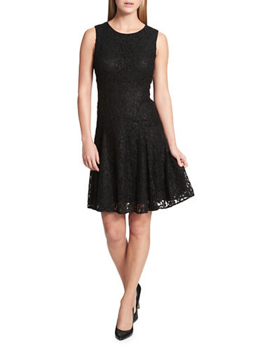 Tommy Hilfiger Floral Lace Fit-and-Flare Dress-BLACK-6