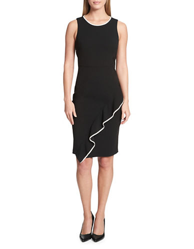 Tommy Hilfiger Asymmetrical Hem Sheath Dress-BLACK/IVORY-8