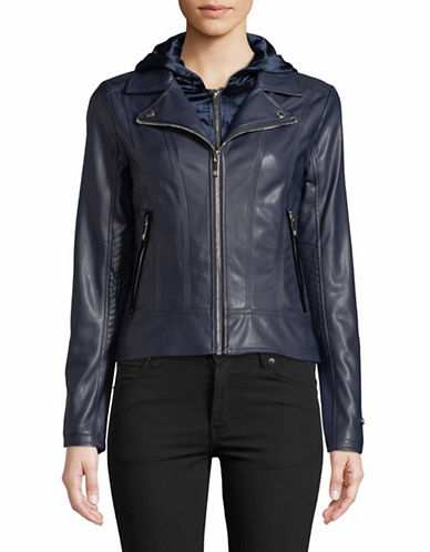 Tommy Hilfiger Velvet-Trimmed Hooded Moto Jacket-BLACK-Large