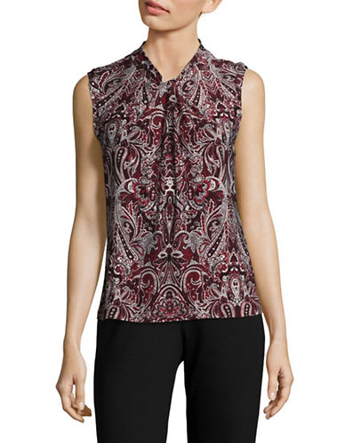 Tommy Hilfiger Sleeveless Paisley Top-RED-Large