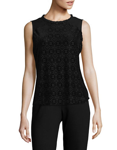 Tommy Hilfiger Mixed Media Velvet Burnout Top-BLACK-Large