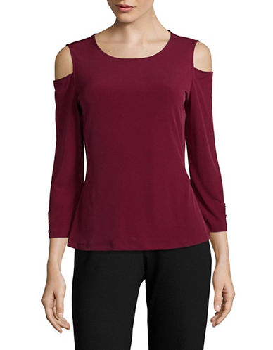 Tommy Hilfiger Jersey Cold Shoulder Top-RED-Large