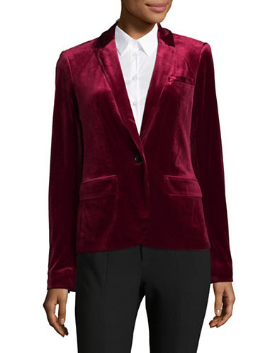 Tommy Hilfiger Velvet One-Button Blazer-RED-4