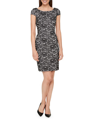 Tommy Hilfiger Lace Jacquard Sheath Dress-BLACK-8
