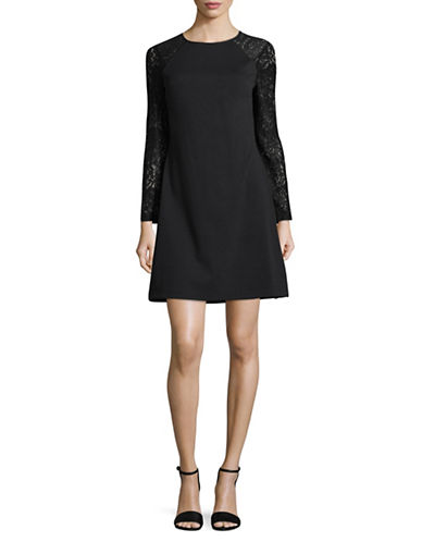 Tommy Hilfiger Lace Sleeve Dress-BLACK-4