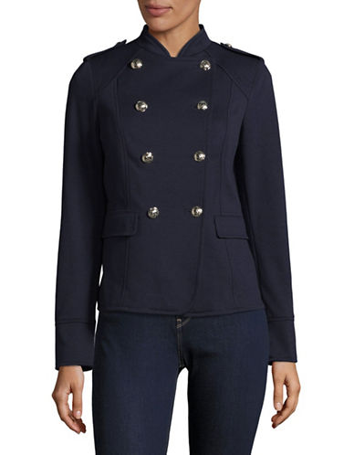 Tommy Hilfiger Double-Breasted Military Jacket-BLUE-2