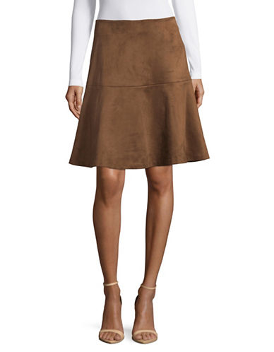 Tommy Hilfiger Faux Suede Pencil Skirt-BROWN-4