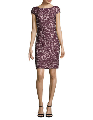 Tommy Hilfiger Lace Jacquard Sheath Dress-PURPLE MULTI-4