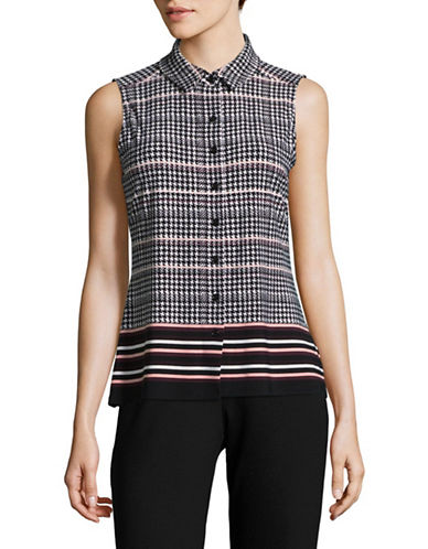Tommy Hilfiger Mixed Print Sleeveless Blouse-ASSORTED-Large