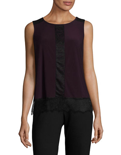 Tommy Hilfiger Lace-Trimmed Knit Top-BLACK-Medium