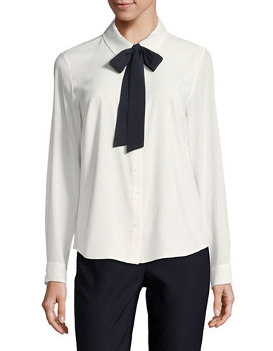 Tommy Hilfiger Contrast Tie Shirt-WHITE/BLUE-Large