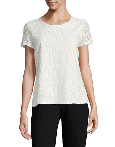 Tommy Hilfiger Lace Boxy Top-WHITE-Medium