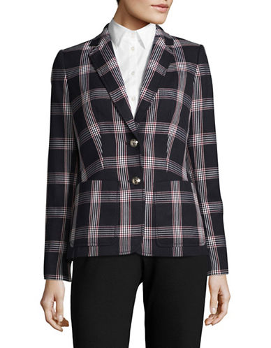Tommy Hilfiger Plaid Two-Button Blazer-NAVY MULTI-10