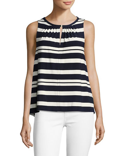Tommy Hilfiger Striped Hardware Keyhole Top-NAVY/IVORY-Small
