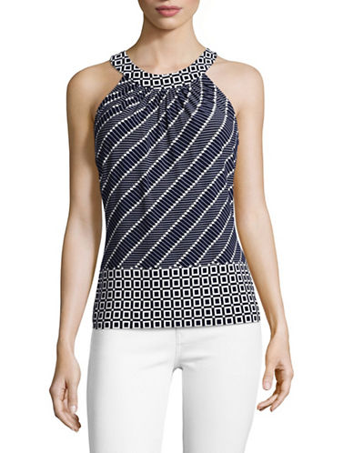 Tommy Hilfiger Geometric Woven Tank Top-IVORY MIDNIGHT-X-Large