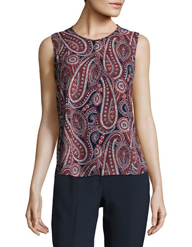 Tommy Hilfiger Paisley Sleeveless Tops-RED MULTI-Small