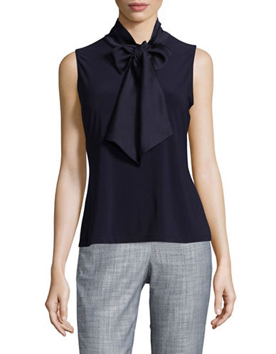 Tommy Hilfiger Tie-Neck Sleeveless Blouse-MIDNIGHT-Large