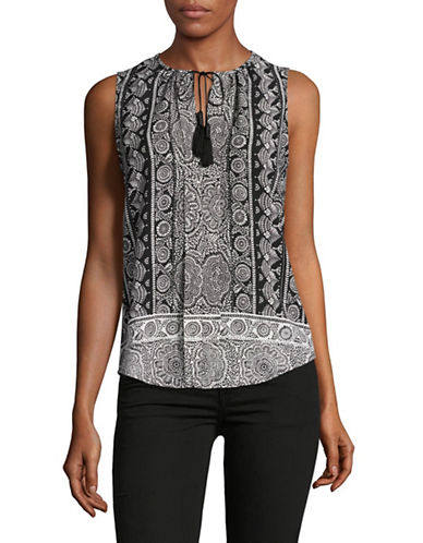 Tommy Hilfiger Printed Sleeveless Top-BLACK/IVORY-Small