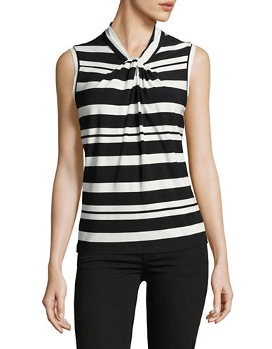 Tommy Hilfiger Striped Knot Neck Tank-BLACK/IVORY-Small