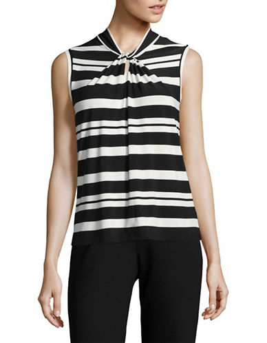 Tommy Hilfiger Striped Knot Neck Top-BLACK/ IVORY-Medium