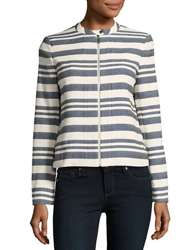 Tommy Hilfiger Woven Collarless Jacket-INDIGO/CREAM-6