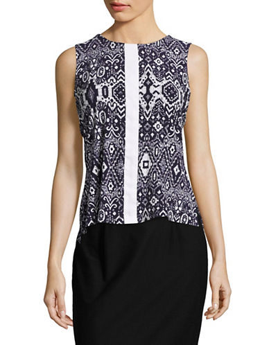 Tommy Hilfiger Printed Sleeveless Top-MIDNIGHT/IVORY-Large