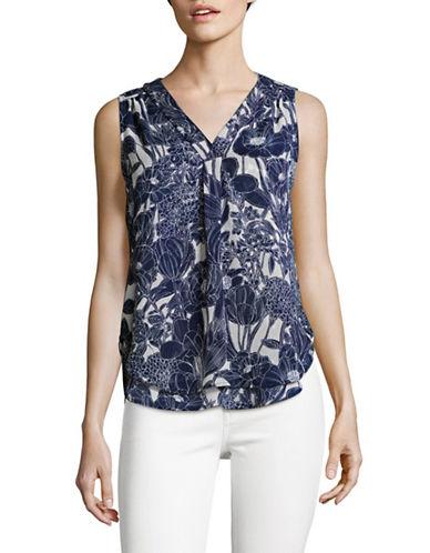 Tommy Hilfiger Sleeveless Floral Blouse-NAVY/IVORY-Medium