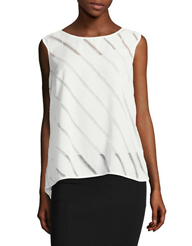 Tommy Hilfiger Sleeveless Illusion Striped Top-IVORY-Small