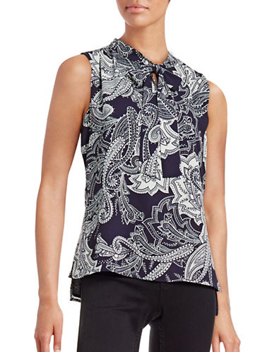 Tommy Hilfiger Tie-Neck Hi-Lo Paisley Tank-MIDNIGHT/MULTI-Small