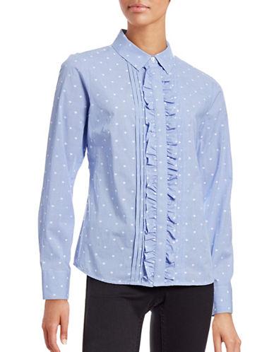 Tommy Hilfiger Spot Ruffle Front Shirt-BLUE MULTI-10